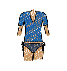 color pencil drawing of woman with swimsuit thong vector image