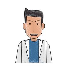 Color pencil half body caricature doctor male vector