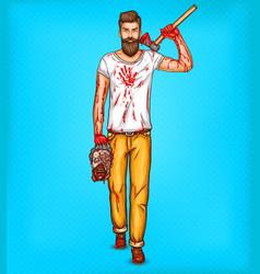 Pop art brutal bearded man macho with vector