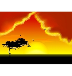 Landscape with tree on horizon vector