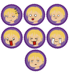 Badges with manga faces 2 vector