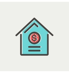 Dollar house thin line icon vector