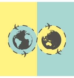 Business background with earth globe and airplane vector