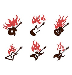 Fire guitar icons set vector