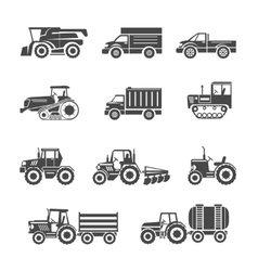 Agricultural machinery icons vector