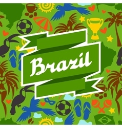 Brazil background with stylized objects and vector
