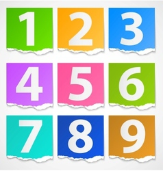 Colorful torn papers numbers vector