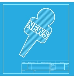 Tv news microphone sign  white vector