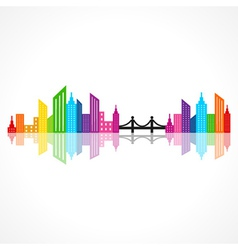 Abstract colorful building design with bridge vector image