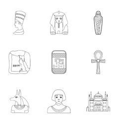 Ancient Egypt set icons in outline style Big vector image