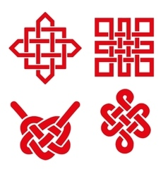 Auspicious endless knots setbuddhist symbolred vector