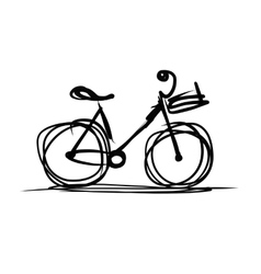 Bicycle with basket sketch for your design vector image