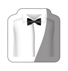 color sticker shirt with bow tie icon vector image vector image