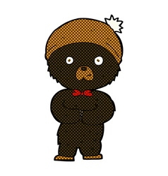 comic cartoon little black bear vector image vector image
