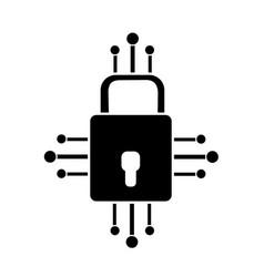 Contour padlock with circuits to security dgital vector