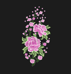 embroidered design elements with sakura vector image vector image