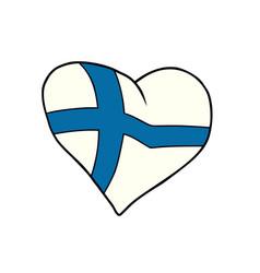 finland heart patriotic symbol vector image