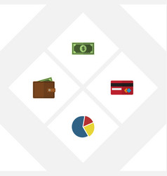 Flat exchequer set of payment billfold graph and vector