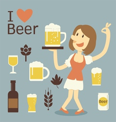 Girl serving beer vector