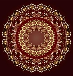Gold round floral ornament floral mandala vector