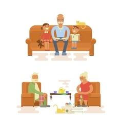 Grandparents cartoon characters vector
