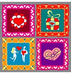 happy valentines border set vector image