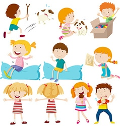 Kids doing different actions vector