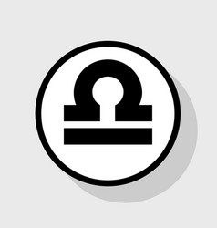 Libra sign flat black icon vector