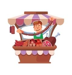 Local market farmer selling fresh meat vector