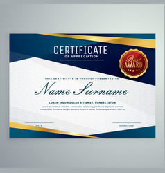 Modern blue and golden certificate template vector