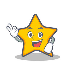Okay star character cartoon style vector