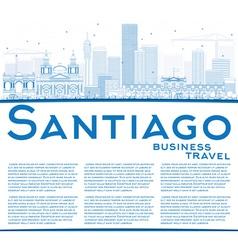 Outline santiago chile skyline with blue buildings vector