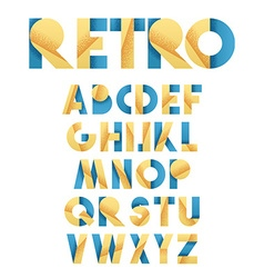 Retro font in blue and yellow Beige alphabet vector image