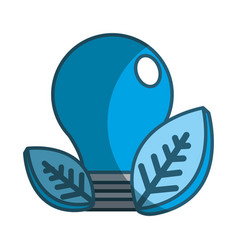 Save bulb with leaves icon vector