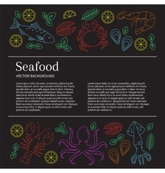 Seafood background vector image
