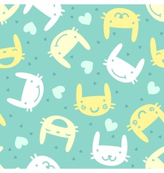 seamless pattern with cute bunny emotions vector image