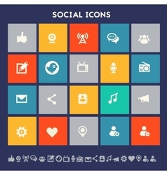 Social icon set Multicolored square flat buttons vector image vector image