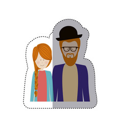 Sticker color silhouette half body with couple vector