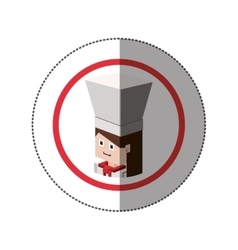 Sticker lego with portrait female chef shading vector