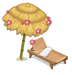 Sun lounger and parasol decorated flowers vector