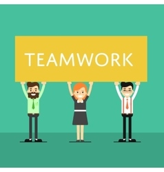 Teamwork banner with group of smiling people vector image vector image