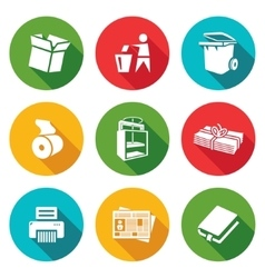 Waste paper icons set vector