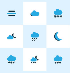 weather colored icons set collection of night vector image vector image