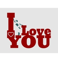 I love you text and woman silhouette vector