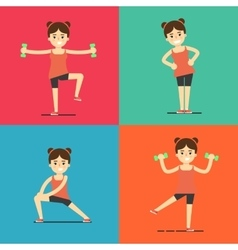 Fitness girl doing exercise set vector