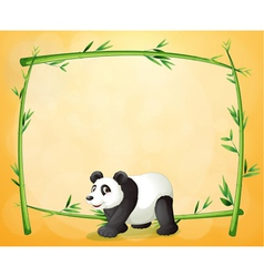 A panda and the empty green frame vector
