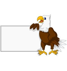 eagle cartoon with blank sign vector image