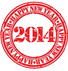 Happy new 2014 year gunge stamp vector image