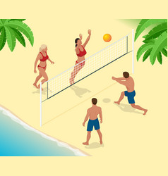 Beach volley ball player jumps on the net and vector