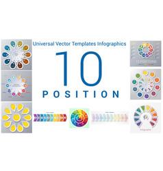 Universal templates set infographics 10 positions vector